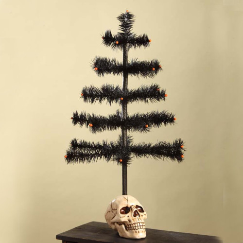 Bethany Lowe Black Feather Tree with Skull