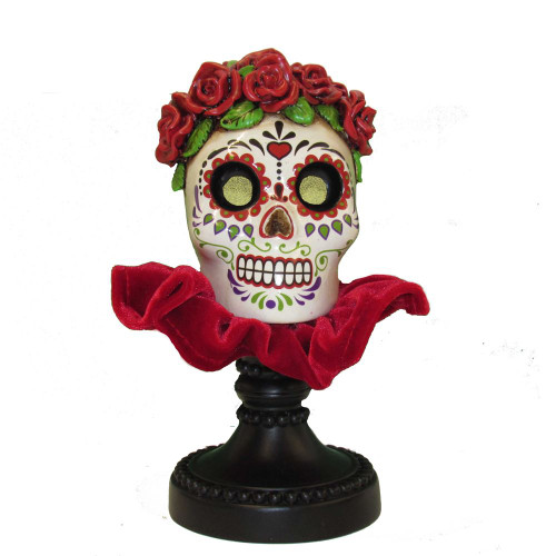 Kurt Adler Day of the Dead Girl Skull with Flashing Eyes