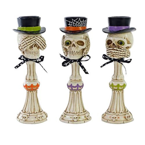 Katherine's No Evil Skeleton Pillars (3 Colours)  - 25cm