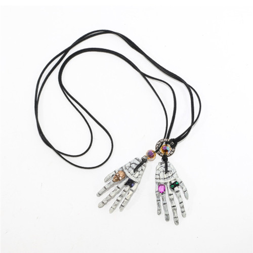 Skeleton Hand Necklace With Jewels