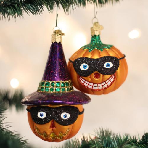 Masked Jack O'lantern Glass Ornament