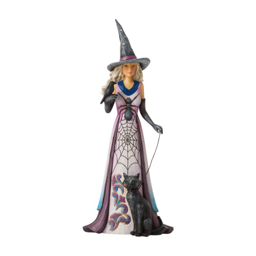 Jim Shore Witch With Spider Web Skirt & Black Cat
