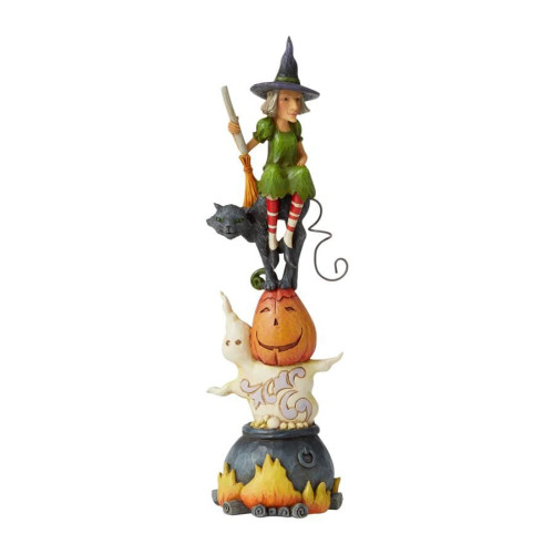 Jim Shore Stacked Ghost Pumpkin, Cat And Witch