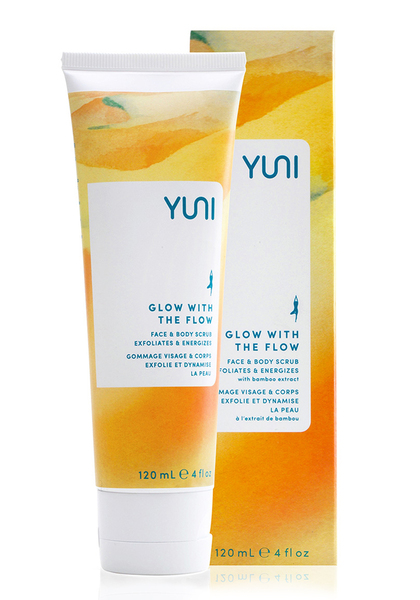 Polish away dullness with this refining exfoliating for the body. Gentle scrub lifts dry surface cells to reveal skin's deeper radiance with sustainably harvested and certified organic baobab oil and fair trade green tea extract. A calming aromatic blend of frankincense, ylang-ylang and lavender essential oils relieves stress. | GLOW WITH THE FLOW GLOW WITH THE FLOW Face and Body Scrub