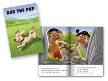 Bud the Pup cover and spread layout