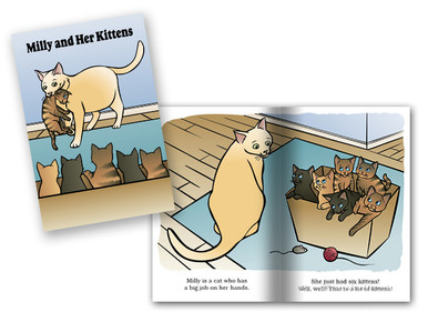 Milly and Her Kittens cover and spread layout