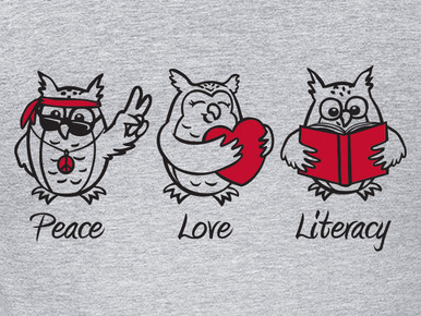 Peace Love Literacy T-Shirt Back  Design