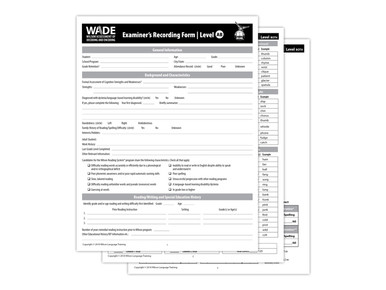 WADE Examiner's Recording Forms AB, 4th Edition