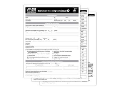 WADE Examiner's Recording Forms B, 4th Edition