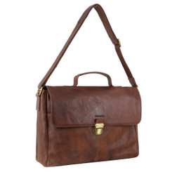 Pierre Cardin Rustic Leather Computer Bag in Chocolate (PC3132)