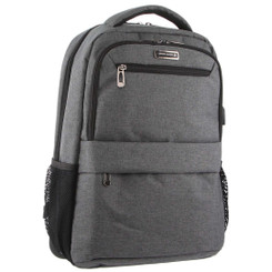 Pierre Cardin Travel & Business Backpack with Built-in USB Port in Charcoal (PC3179)