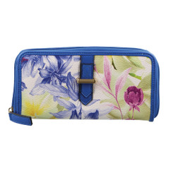 Milleni Ladies Floral Zip Wallet in Navy (C2376)