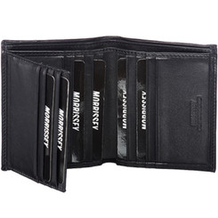 Morrissey Italian Leather Mens Wallet (MO 10347) in Black - Open