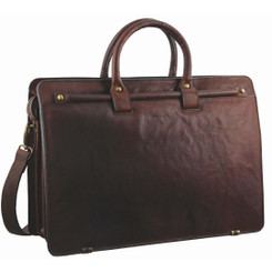 Pierre Cardin Rustic Leather Computer Bag in Chestnut (PC2809)