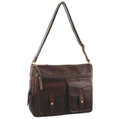 Pierre Cardin Rustic Leather Computer Bag in Chestnut (PC2806)