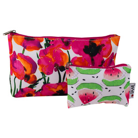 Clinique by Vera Neumann Pink Flowers & Watermelon Cosmetic Makeup Bag -Set of 2
