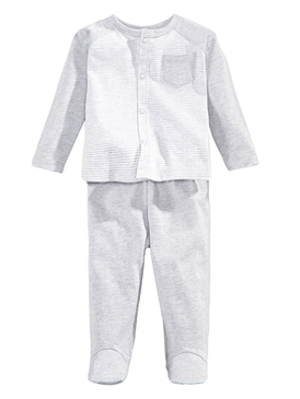 First Impressions Baby Boys Take Me Home Stripe Coverall & Pants Set, Gray