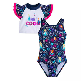Disney Store Girls Anna and Elsa - Frozen ''Be Cool'' Swimsuit & Rash Guard Set