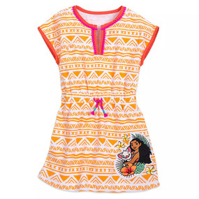 Disney Store Girls - Moana and Pua Geometric Pattern Print Orange Cover-Up