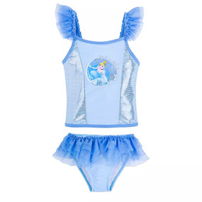 Disney Store Girls Cinderella Shimmering Blue and Silver Deluxe 2-Piece Swimsuit Set