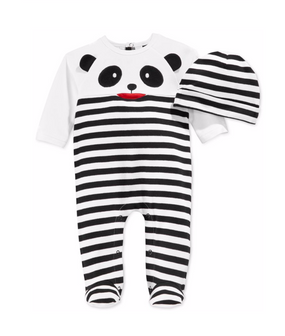 First Impressions Baby Boys Panda Striped Coverall & Hat Set
