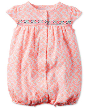 Carter's Baby Girls Cap-Sleeve Embroidered Snap-Up Romper
