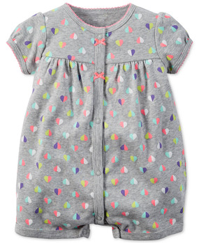 Carter's Baby Girls Multicolor Heart-Print Snap-Up Romper