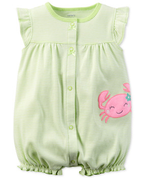 Carter's Baby Girls Crab Applique Flutter Sleeve Snap-Up Romper
