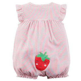 Carter's Baby Girls Strawberry Applique Snap-Up Romper