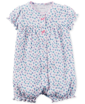 Carter's Baby Girls Bird & Flower Applique Snap-Up Romper, 118G273W