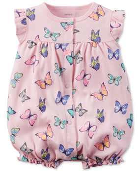Carter's Baby Girls Butterfly-Print Snap-Up Romper, 118G340P