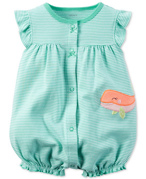 Carter's Baby Girls Whale Snap-Up Romper, 118G341TQ