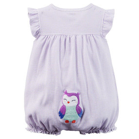Carter's Baby Girls Owl Gingham Appliqué Snap-Up Romper