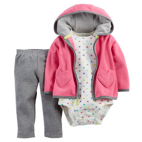 Carter's Baby Girls Heart Cardigan, Pants and Bodysuit Set