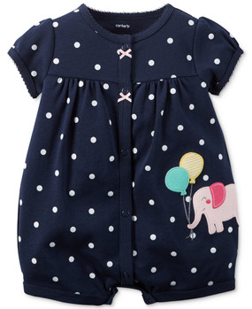 Carter's Baby Girls Elephant Appliqué Snap-Up Romper