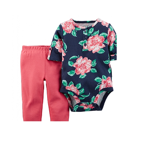 Carter's Baby Girls Floral Print Bodysuit & Pants 2-Piece Set