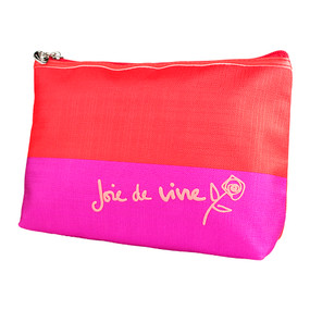 "Lancome ""Joie de Vive"" Fuchsia & Orange Cosmetic Makeup Travel Bag"