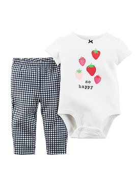 "Carter's Baby Girls ""So Happy"" Short Sleeve Bodysuit & Pants 2-Piece Set"