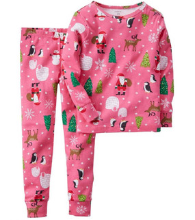 Carter's Baby Girls 2-Piece Pink Santa Pajamas, 331G028PRT