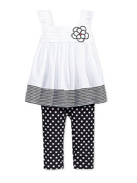 First Impressions Baby Girls 2-Piece Flower Tunic & Dot Leggings Set, Deep Black
