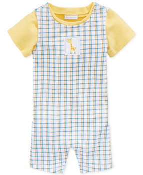 First Impressions Baby Boys 2-Piece Plaid Giraffe Sunsuit Romper 5432BM410