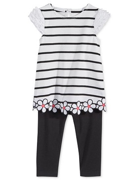 First Impressions Baby Girls 2-Piece Stripe and Flower Tunic & Leggings Set