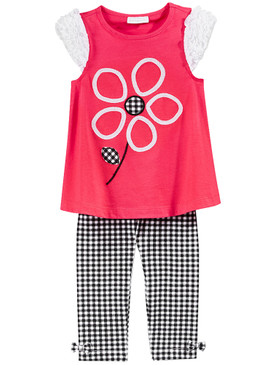 First Impressions Baby Girls 2-Pc Large Flower Tunic & Check-Print Leggings Set