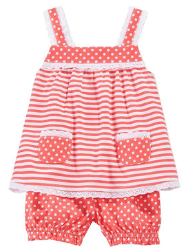 First Impressions Baby Girls 2-Piece Stripes Tunic & Polka Dots Bloomer, Coral