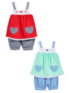 First Impressions Baby Girls 2-Piece Heart Tunic & Stripe Bloomer Set