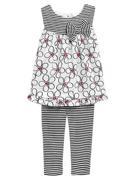 First Impressions Baby Girls 2-Piece Stripe and Flower Tunic & Legging Set