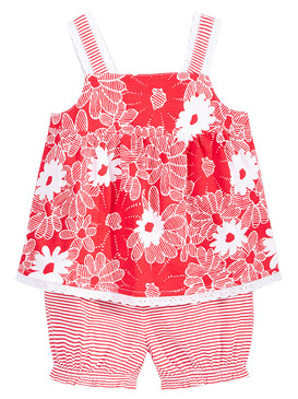 First Impressions Baby Girls 2-Piece Yellow Flower Tunic & Bloomer Set, Cherry Flame
