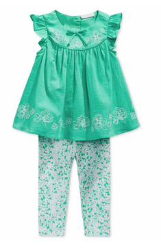 First Impressions Baby Girls 2-Piece Mint Tunic & Leggings Set