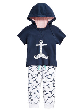 First Impressions Baby Boys 2Pcs Anchor Short Sleeve Hoodie & Pants Set