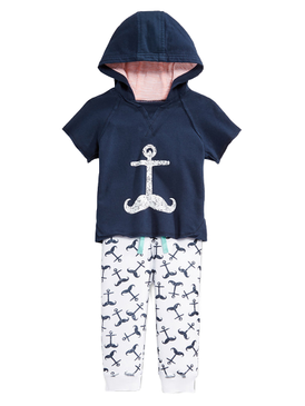 First Impressions Baby Boys 2-Piece Anchor Short Sleeve Hoodie & Pants Set